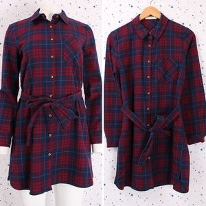 Tops - Button Up Flannel Plaid Shirt with Self Tie